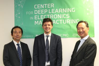 Hirokazu Yamada of NuFlare, Mikael Wahlsten of Mycronic, and Aki Fujimura of D2S at the opening of the CDLe